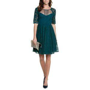 BCBGMaxAzria Julya Teal Cocktail Lace Dress Cutout